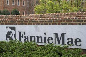 A view shows the Fannie Mae logo at its headquarters in Washington
